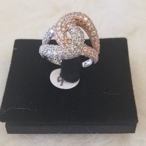 🌹 Sterling Silver and Rose Silver  CZ Ring NWT